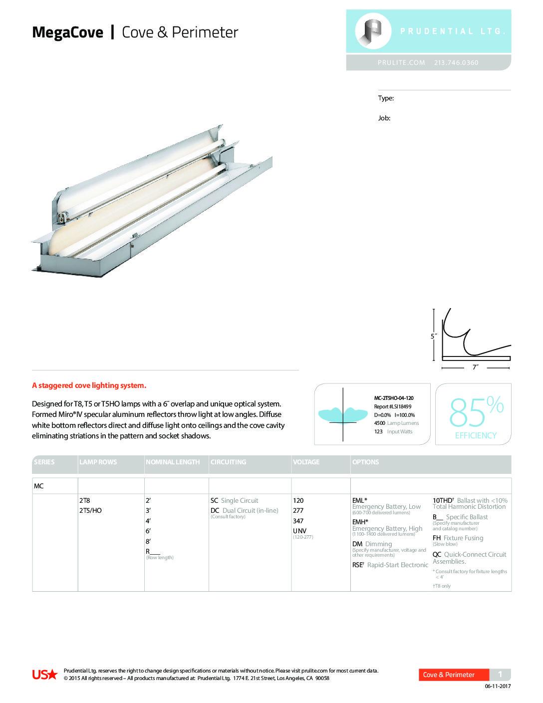 Megacove Fl Specs Prudential Lighting Company T8 Ballast Wiring Diagram Parallel