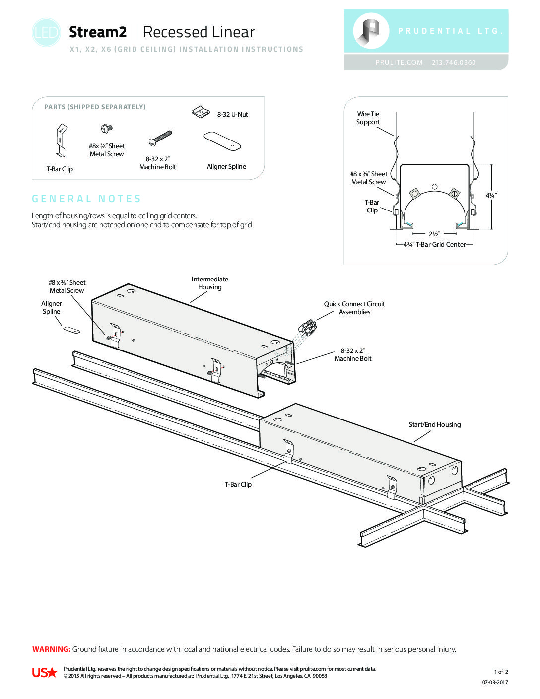 Installation Instructions 420 Prudential Lighting Company